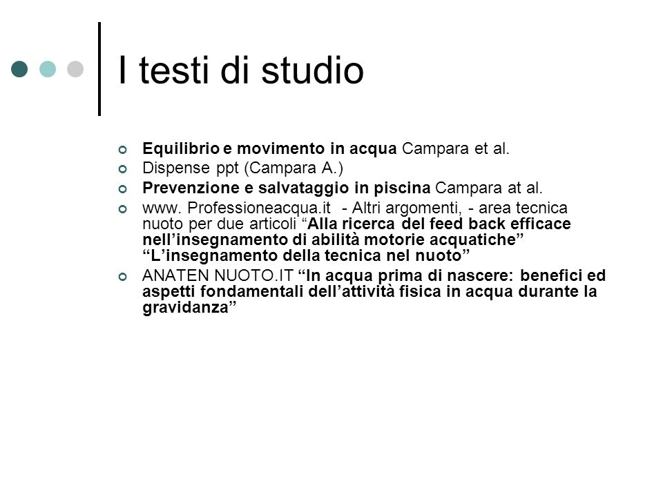 I testi di studio Equilibrio e movimento in acqua Campara et al.