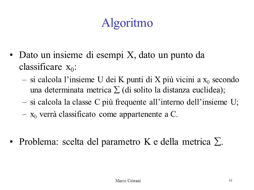 Algoritmo Dato un insieme di esempi X, dato un punto da classificare x0: