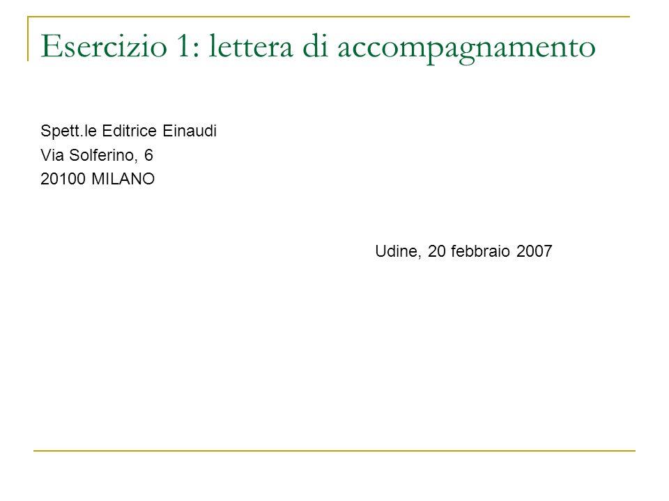 Esercizio 1: lettera di accompagnamento