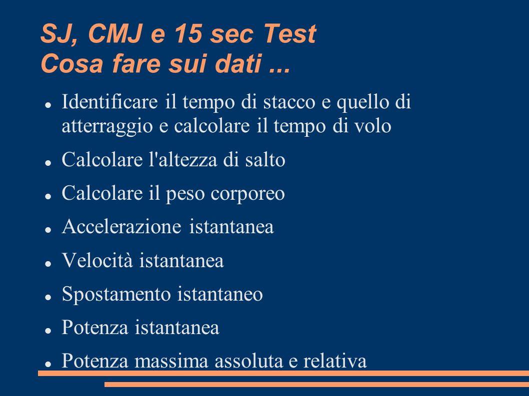SJ, CMJ e 15 sec Test Cosa fare sui dati ...