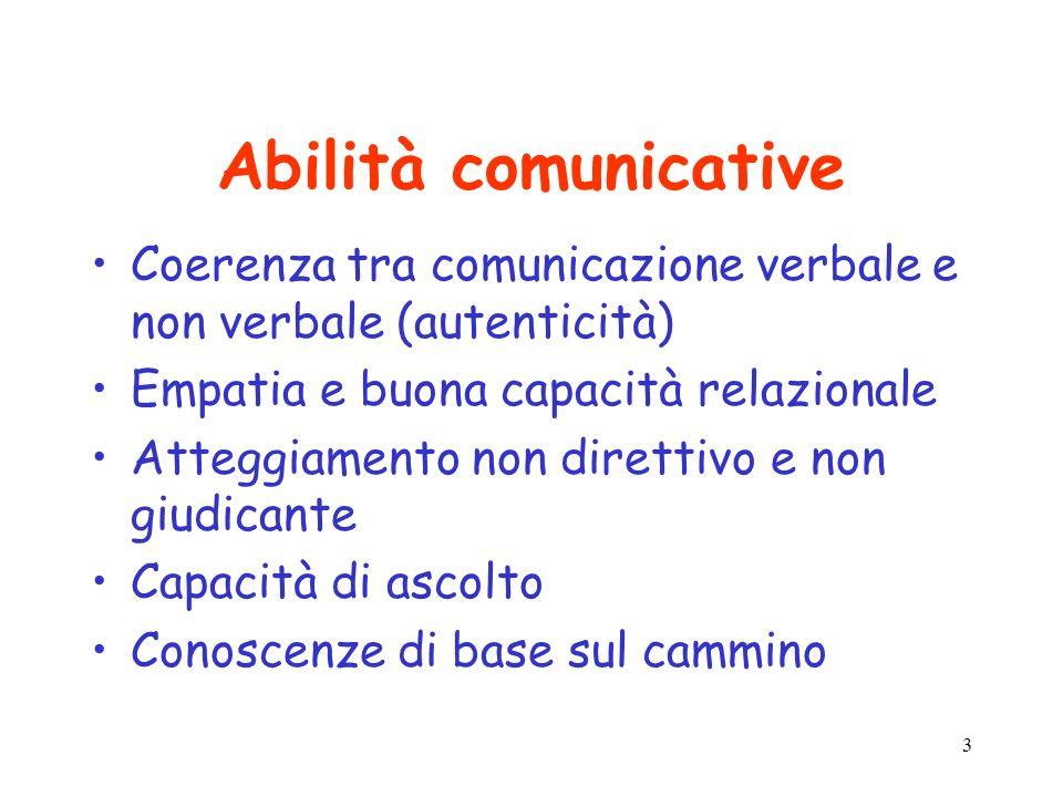 Abilità comunicative Coerenza tra comunicazione verbale e non verbale (autenticità) Empatia e buona capacità relazionale.