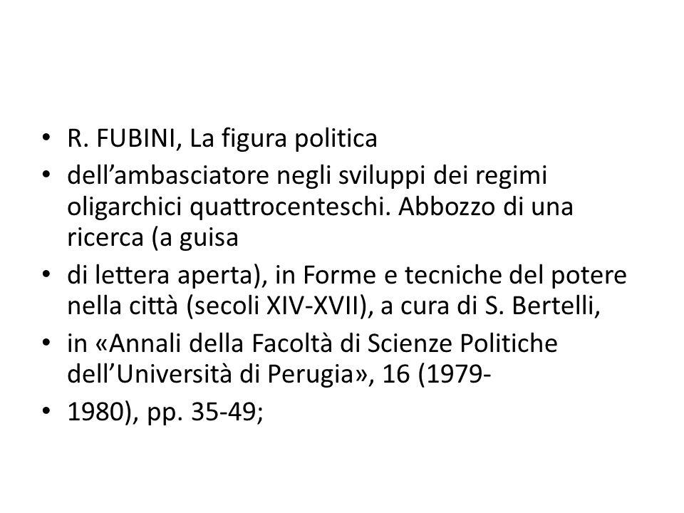 R. FUBINI, La figura politica