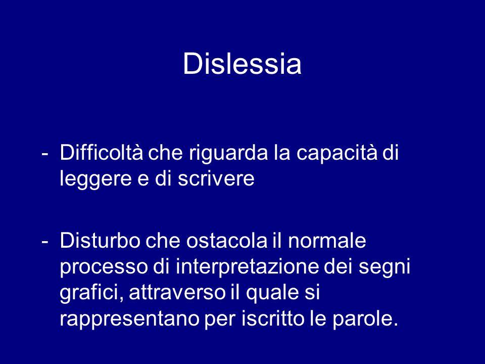 Dislessia - Difficoltà che riguarda la capacità di leggere e di scrivere.