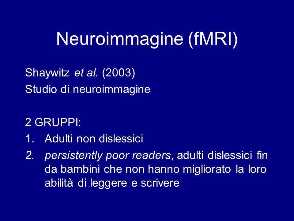 Neuroimmagine (fMRI) Shaywitz et al. (2003) Studio di neuroimmagine