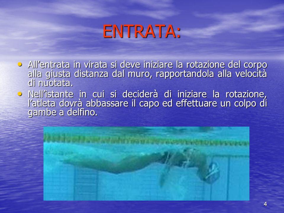 ENTRATA: All'entrata in virata si deve iniziare la rotazione del corpo alla giusta distanza dal muro, rapportandola alla velocità di nuotata.