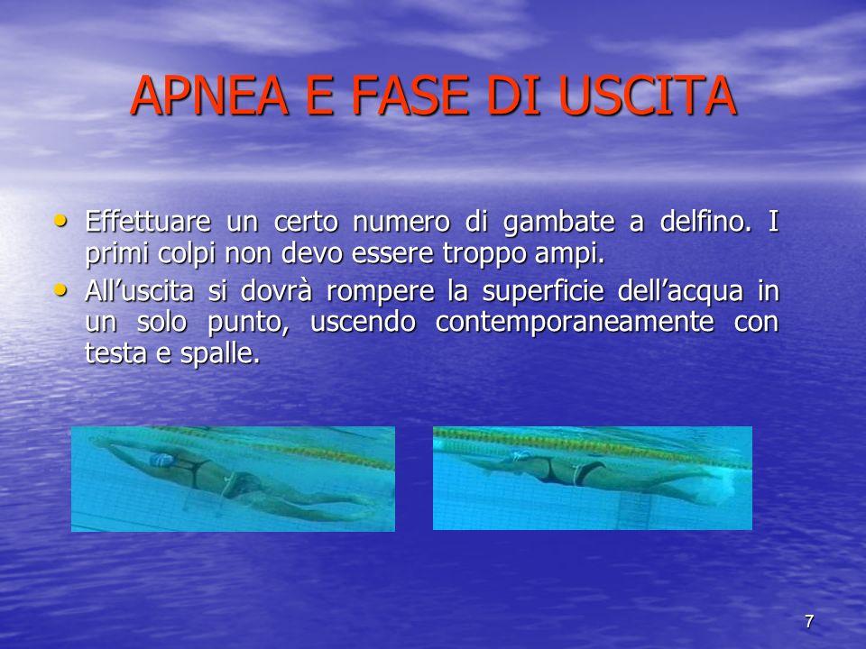 APNEA E FASE DI USCITA Effettuare un certo numero di gambate a delfino. I primi colpi non devo essere troppo ampi.