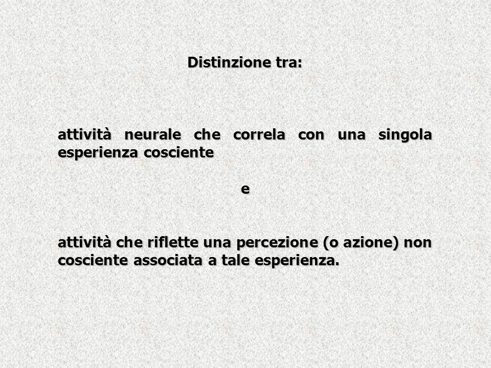Distinzione tra: attività neurale che correla con una singola esperienza cosciente. e.