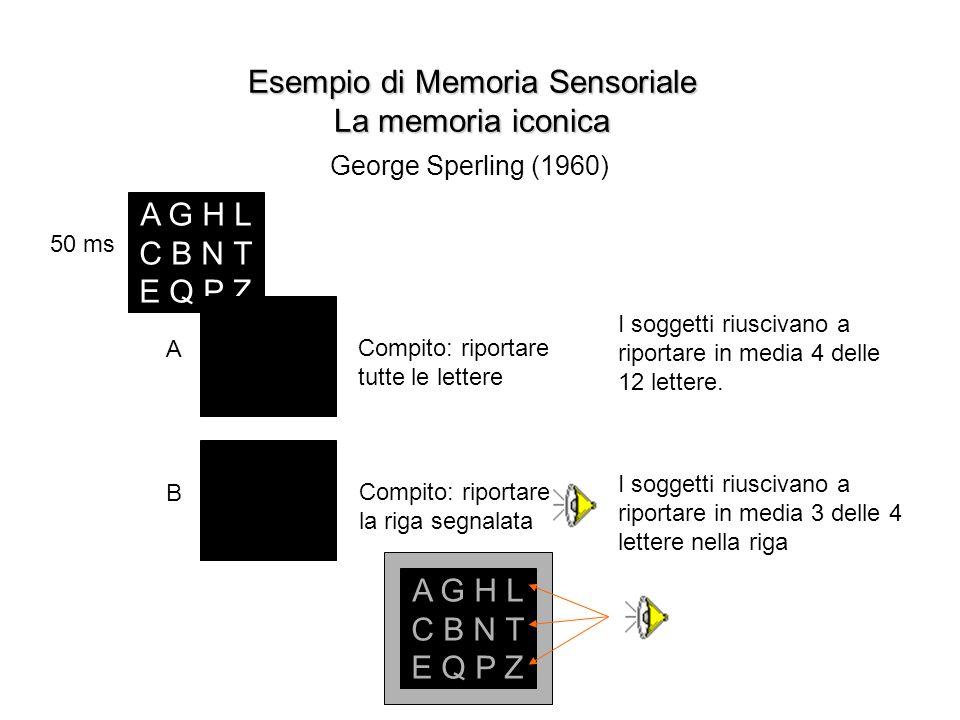 Esempio di Memoria Sensoriale La memoria iconica