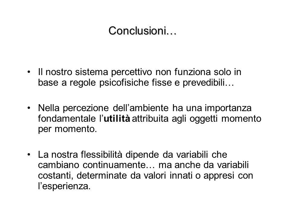 Conclusioni… Il nostro sistema percettivo non funziona solo in base a regole psicofisiche fisse e prevedibili…
