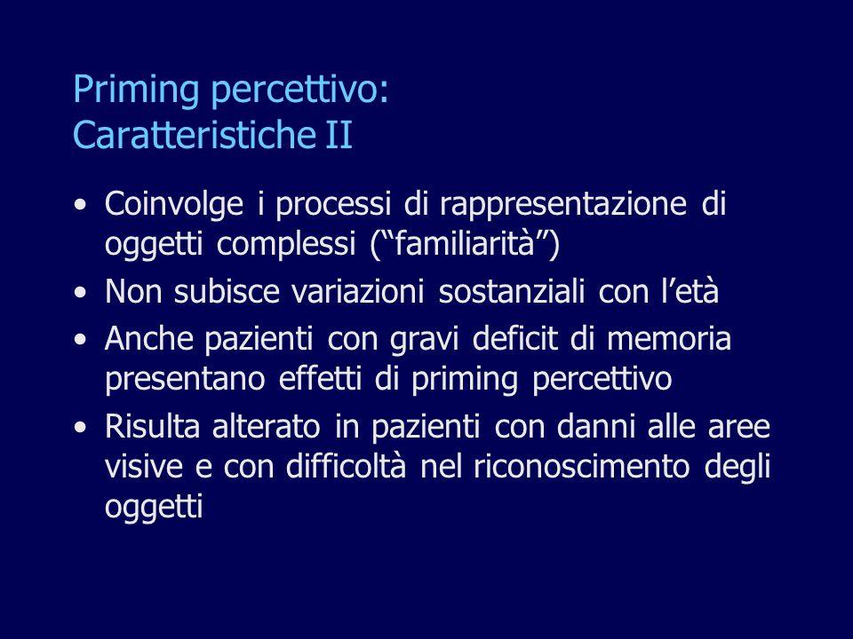 Priming percettivo: Caratteristiche II