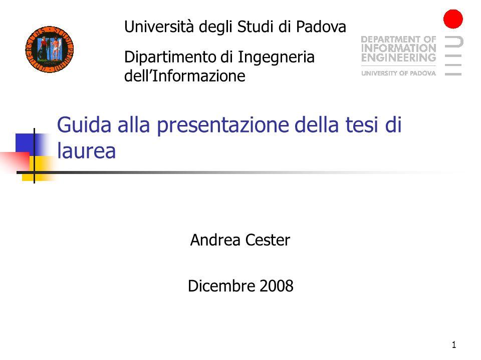 Guida alla presentazione della tesi di laurea