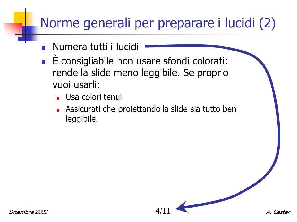 Norme generali per preparare i lucidi (2)
