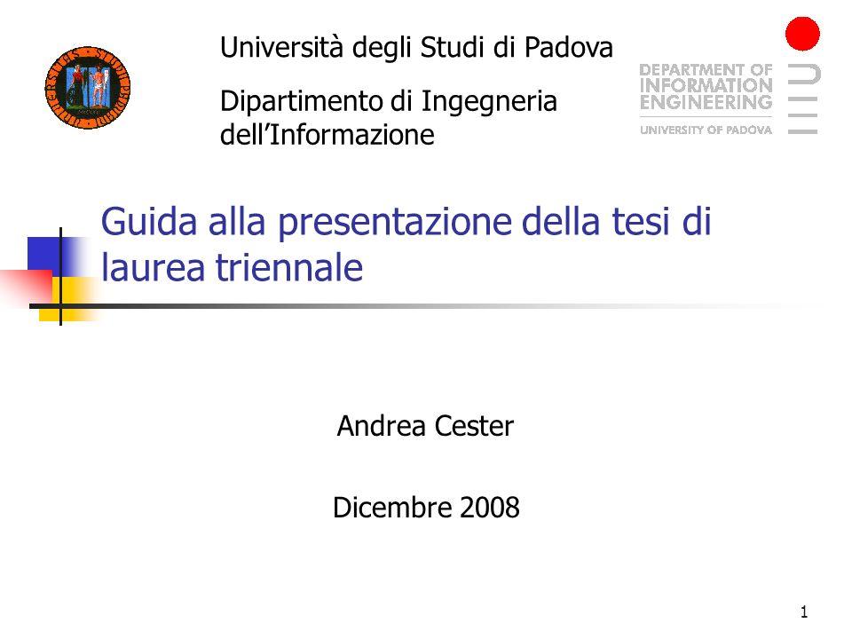 Guida alla presentazione della tesi di laurea triennale