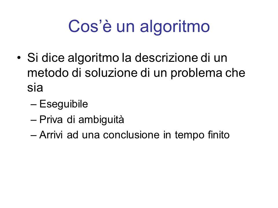 Cos'è un algoritmo Si dice algoritmo la descrizione di un metodo di soluzione di un problema che sia.