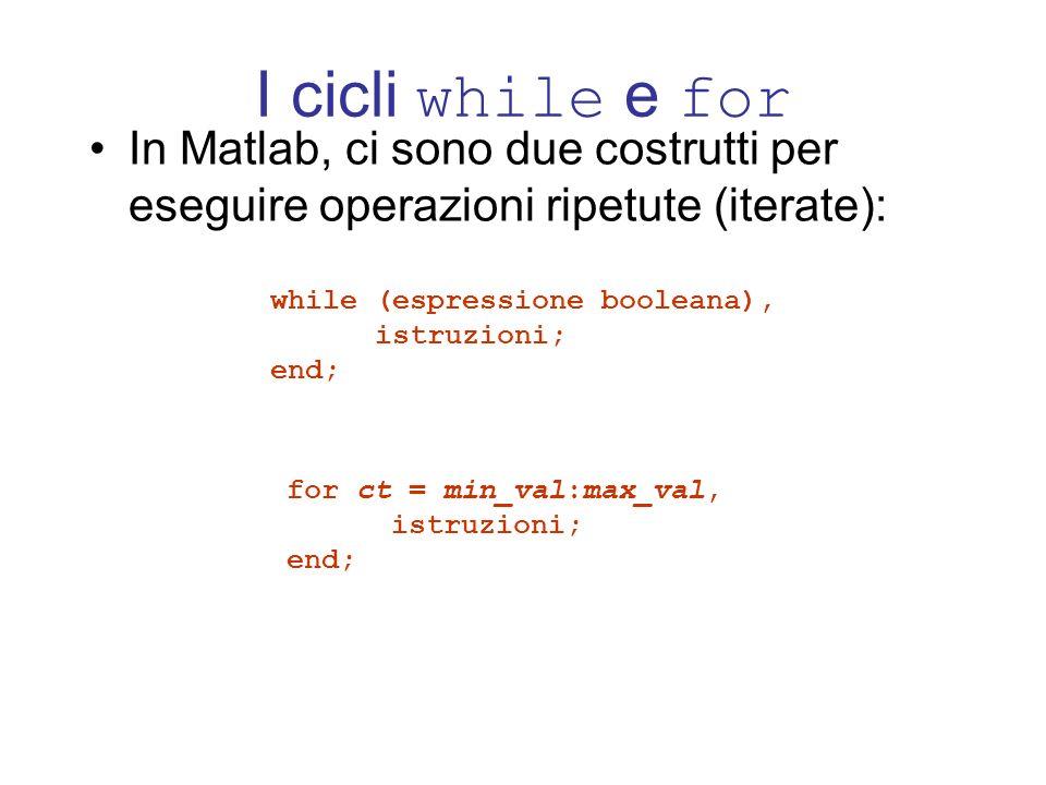 I cicli while e for In Matlab, ci sono due costrutti per eseguire operazioni ripetute (iterate): while (espressione booleana),