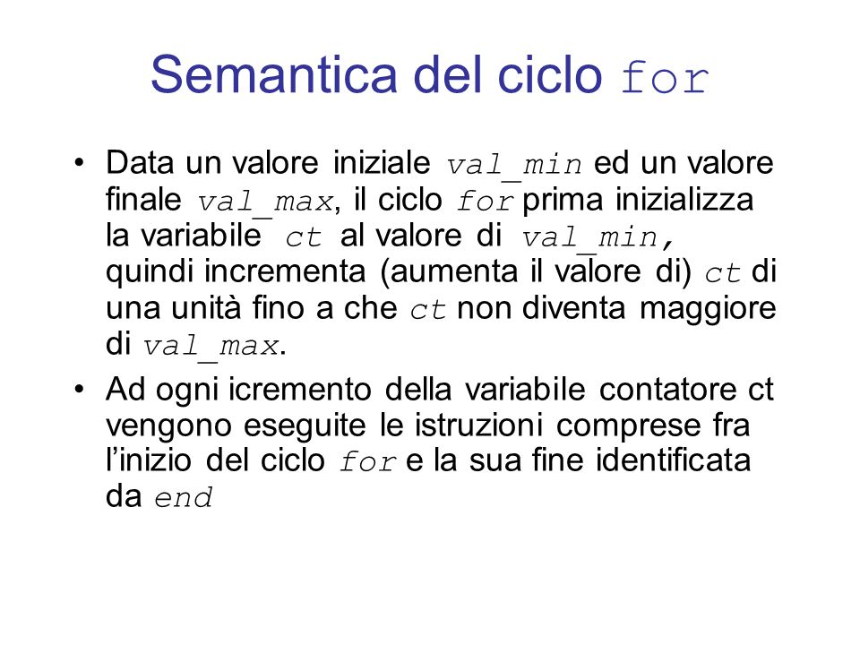 Semantica del ciclo for