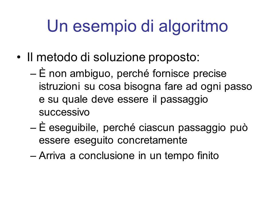 Un esempio di algoritmo