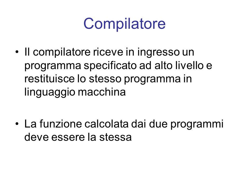 Compilatore Il compilatore riceve in ingresso un programma specificato ad alto livello e restituisce lo stesso programma in linguaggio macchina.