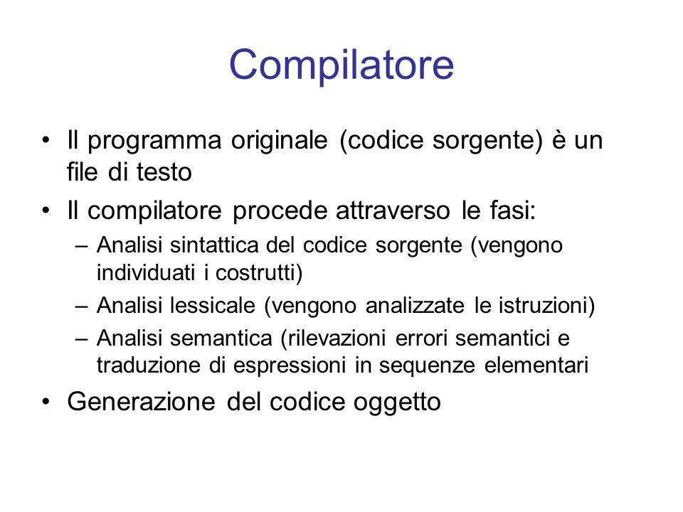 Compilatore Il programma originale (codice sorgente) è un file di testo. Il compilatore procede attraverso le fasi:
