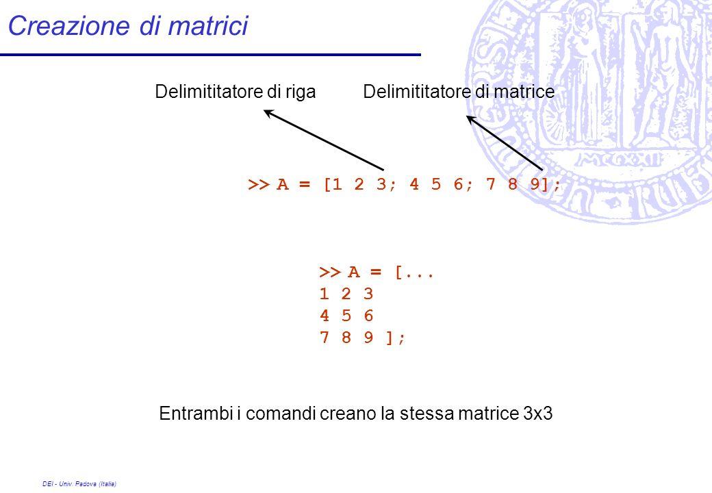 Creazione di matrici Delimititatore di riga Delimititatore di matrice
