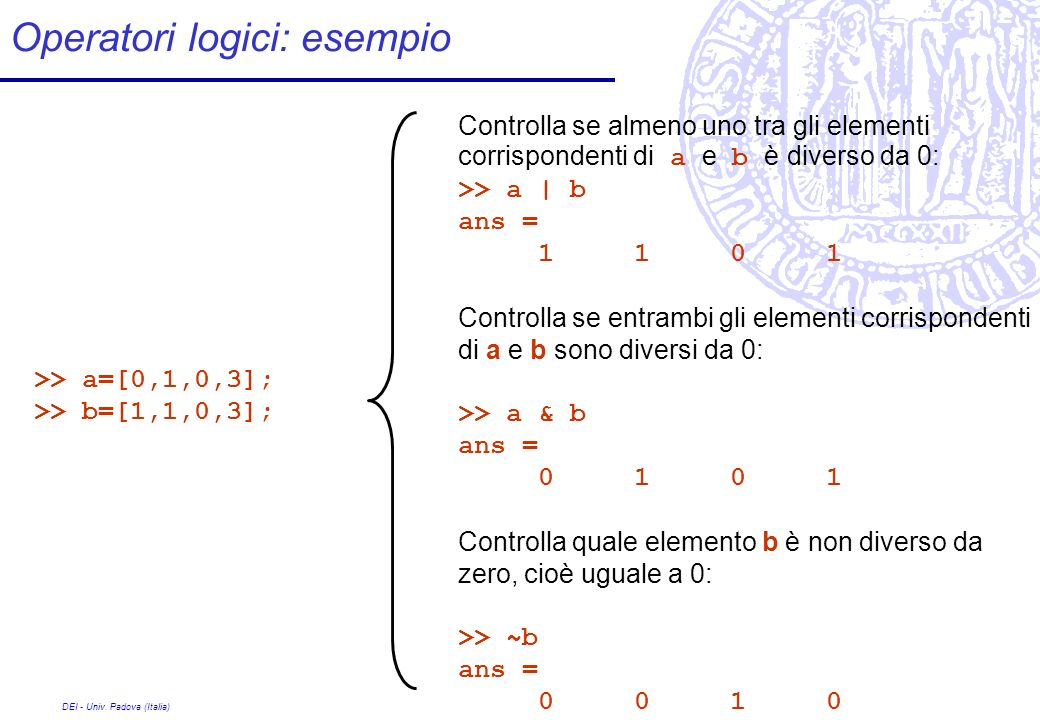 Operatori logici: esempio