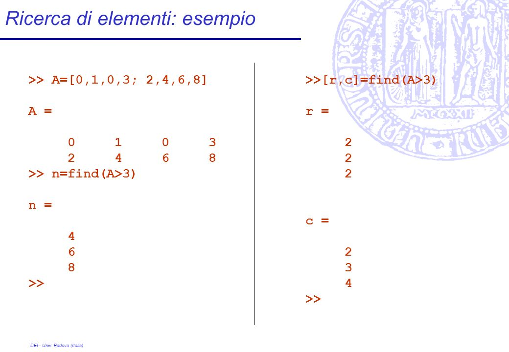 Ricerca di elementi: esempio