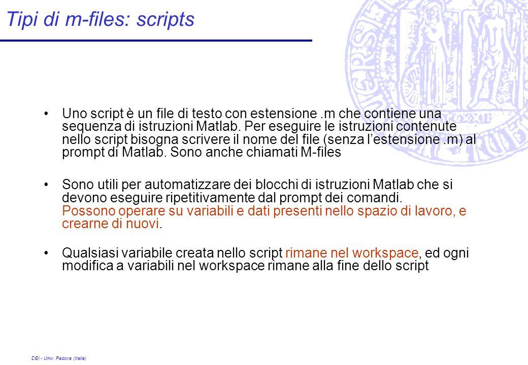Tipi di m-files: scripts