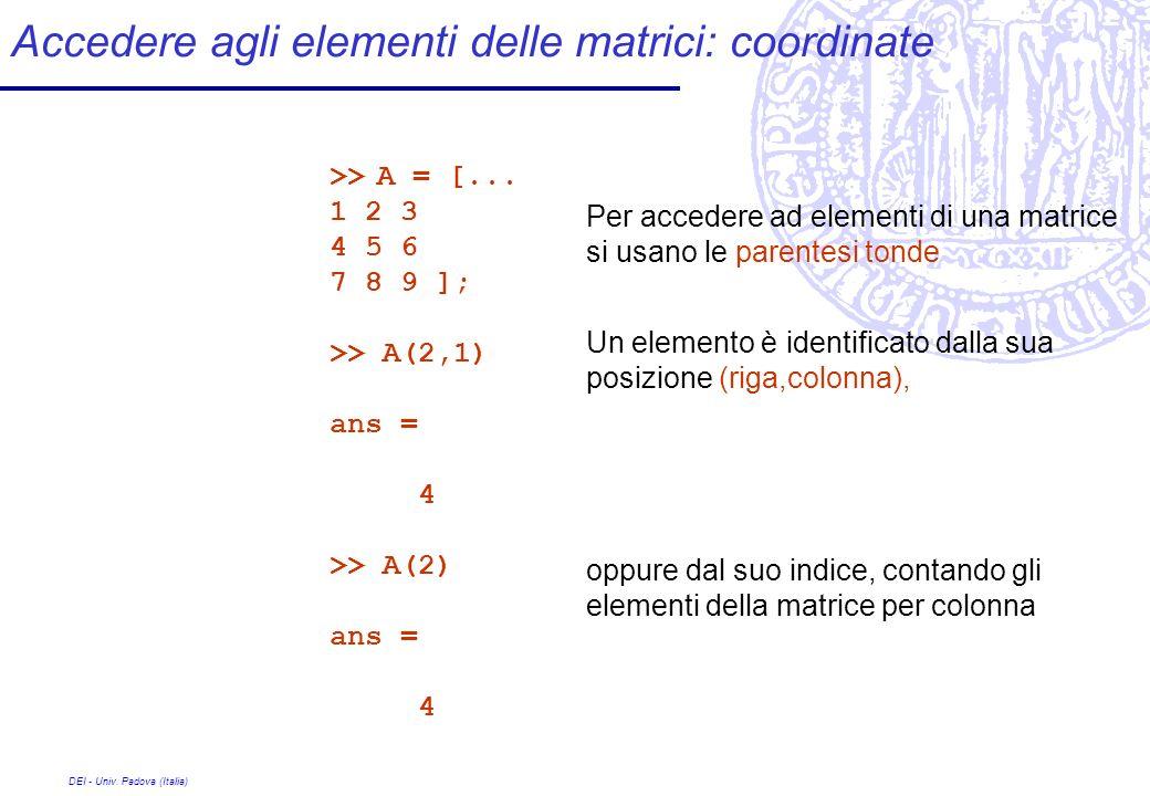 Accedere agli elementi delle matrici: coordinate