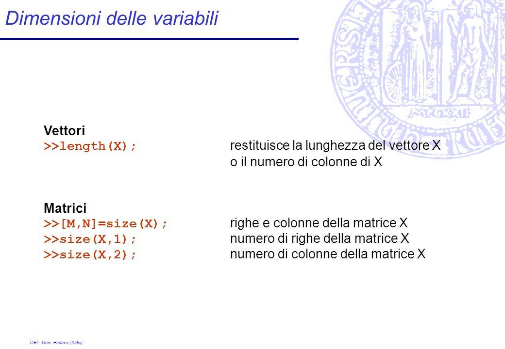 Dimensioni delle variabili