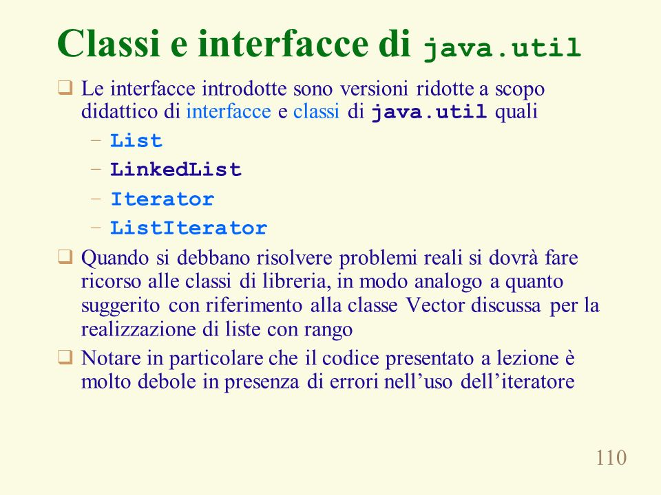 Classi e interfacce di java.util