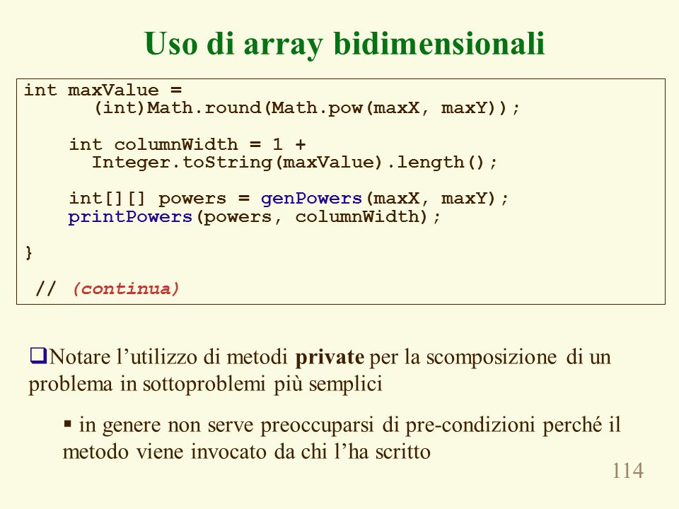 Uso di array bidimensionali