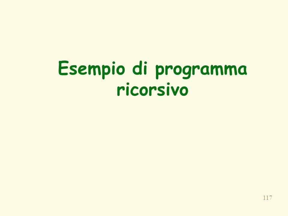 Esempio di programma ricorsivo