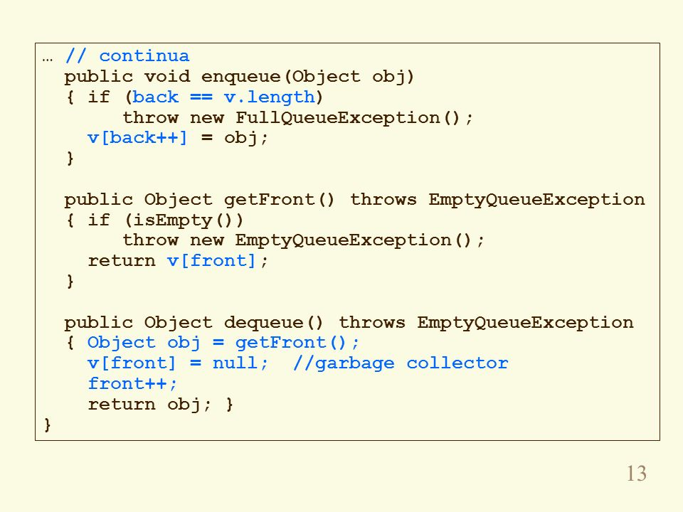 … // continuapublic void enqueue(Object obj) { if (back == v.length) throw new FullQueueException();