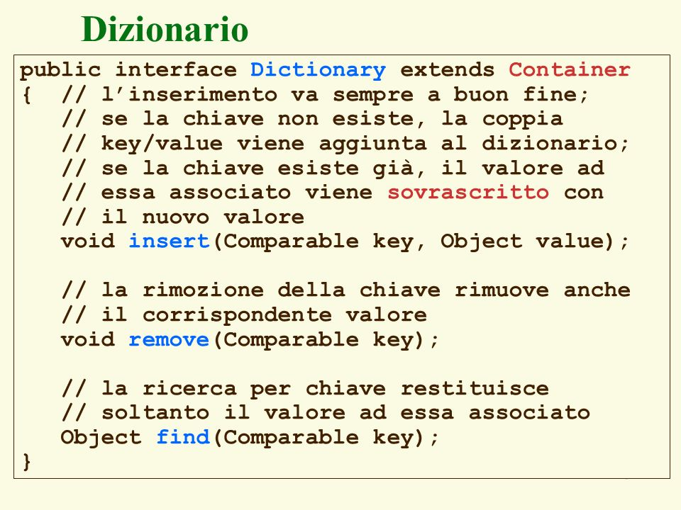 Dizionario public interface Dictionary extends Container