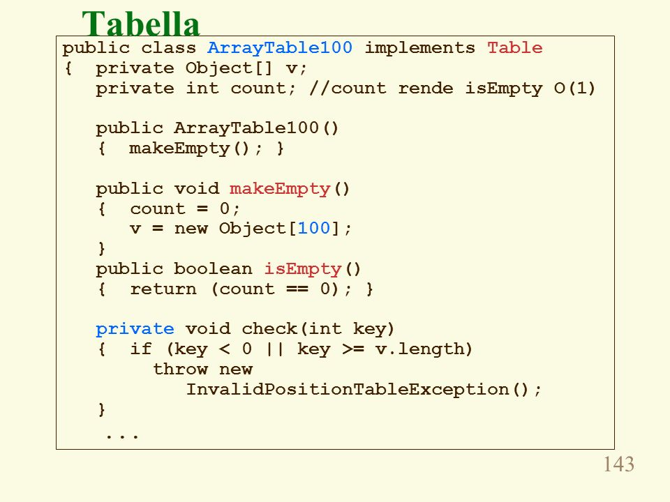 Tabella public class ArrayTable100 implements Table
