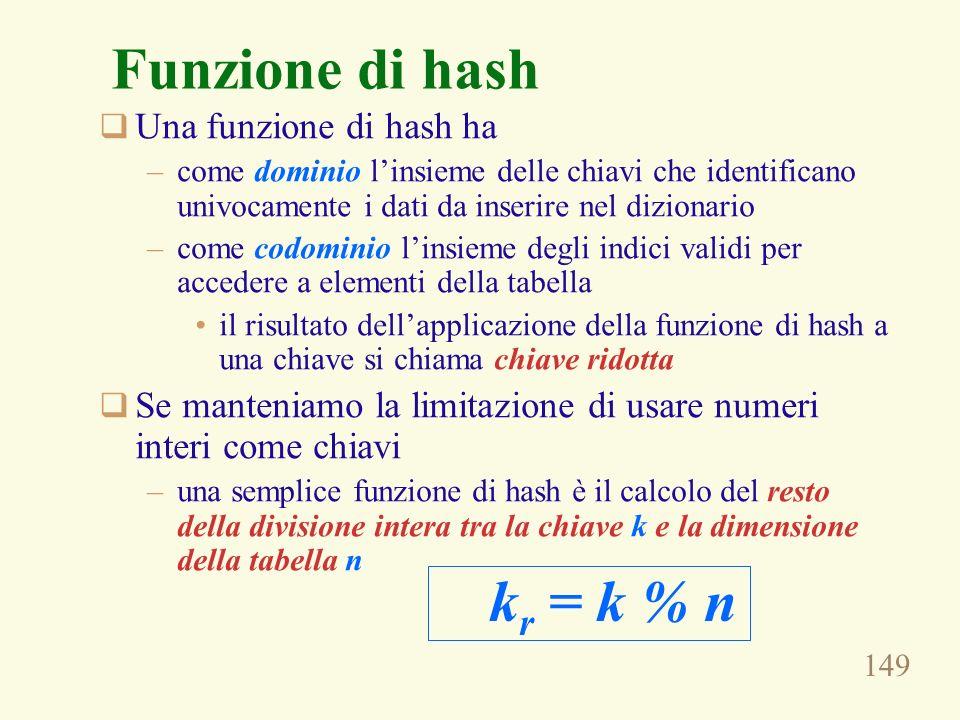 Funzione di hash kr = k % n Una funzione di hash ha