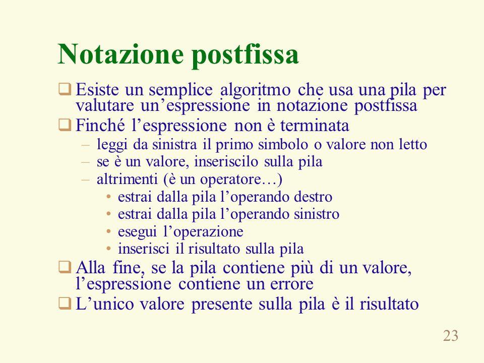 Notazione postfissa Esiste un semplice algoritmo che usa una pila per valutare un'espressione in notazione postfissa.