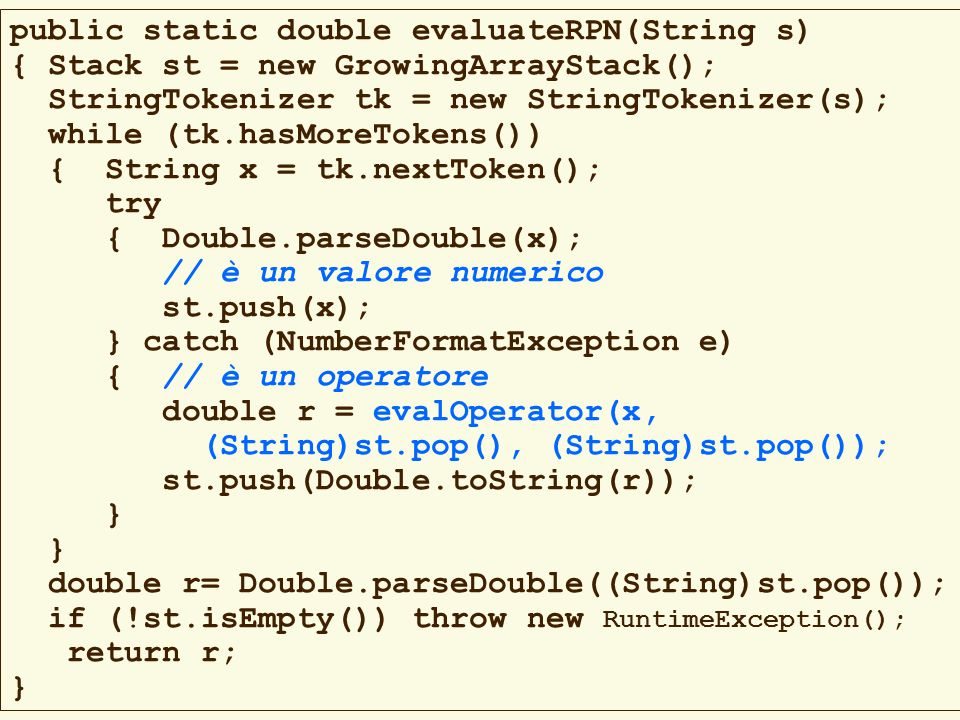 public static double evaluateRPN(String s)