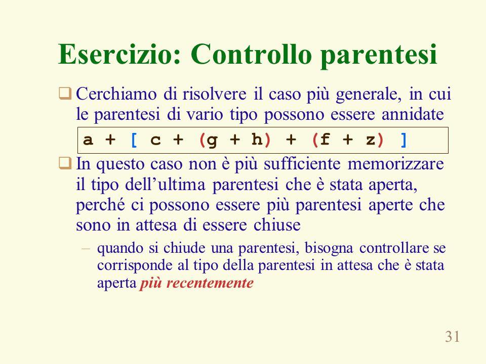 Esercizio: Controllo parentesi
