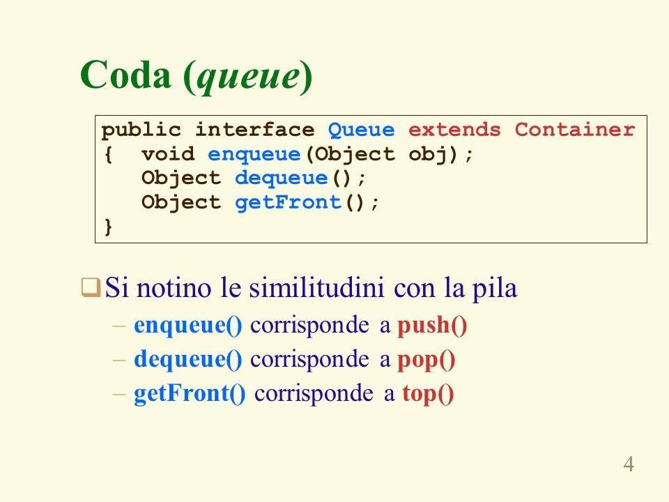 Coda (queue) Si notino le similitudini con la pila