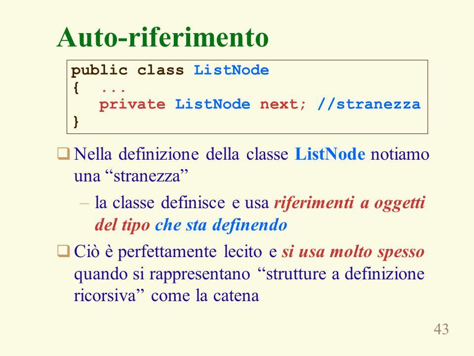 Auto-riferimentopublic class ListNode. { ... private ListNode next; //stranezza. } Nella definizione della classe ListNode notiamo una stranezza
