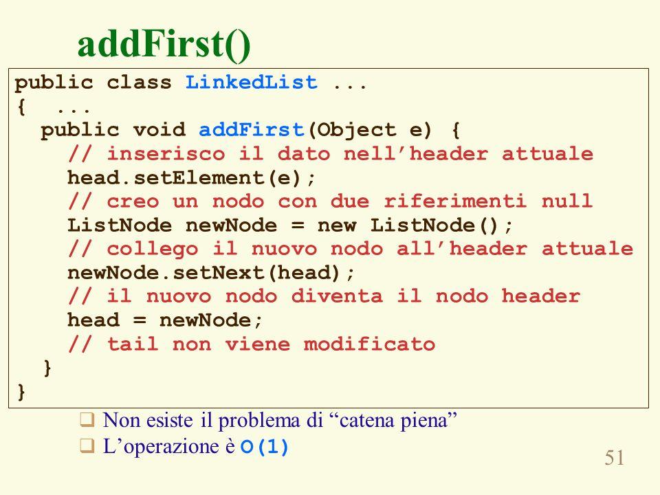 addFirst() public class LinkedList ... { ...