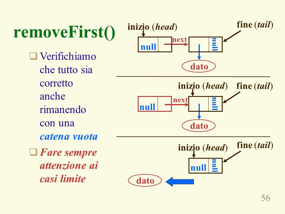 fine (tail)removeFirst() inizio (head) next. null. null. Verifichiamo che tutto sia corretto anche rimanendo con una catena vuota.