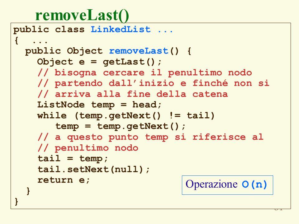 removeLast() Purtroppo questa operazione è O(n) Operazione O(n)