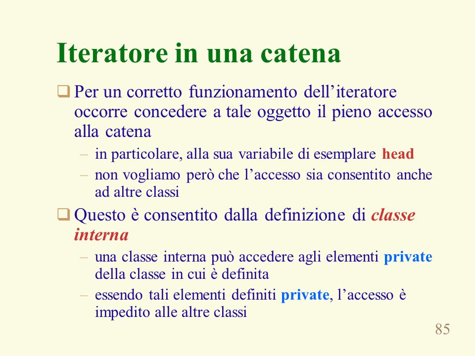 Iteratore in una catena