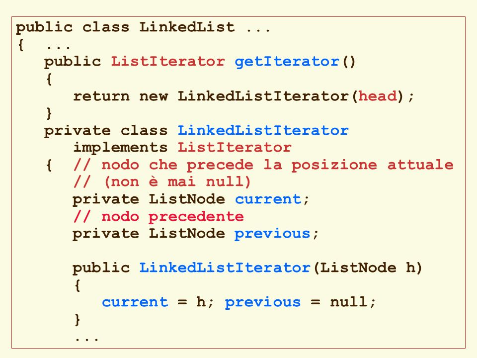 public class LinkedList ...