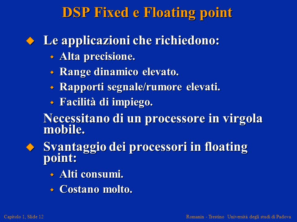 DSP Fixed e Floating point