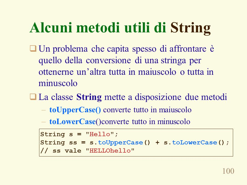 Alcuni metodi utili di String