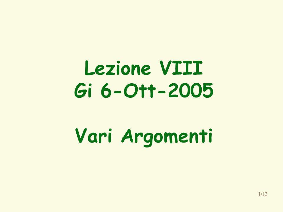 Lezione VIII Gi 6-Ott-2005 Vari Argomenti
