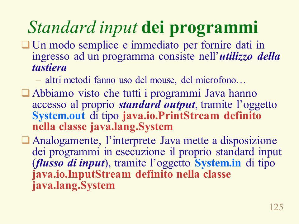 Standard input dei programmi
